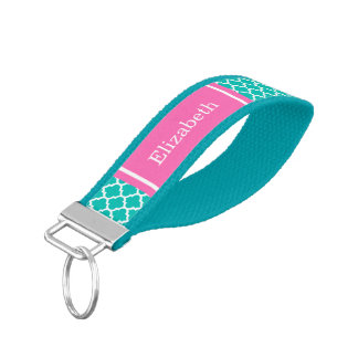 Teal White Moroccan #5 Hot Pink Name Monogram Wrist Keychain