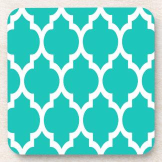 Teal White Moroccan Quatrefoil Pattern #4 Coaster
