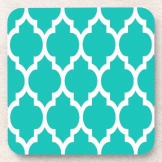 Teal White Moroccan Quatrefoil Pattern #4 Drink Coaster