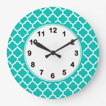 Teal White Moroccan Quatrefoil Pattern #5 Large Clock