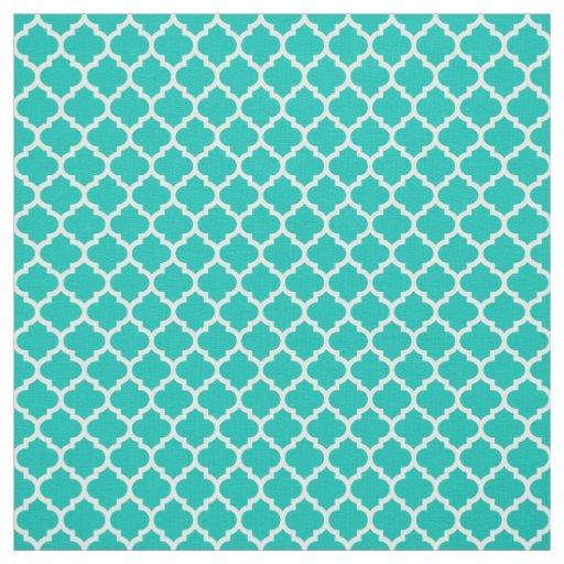 Teal White Moroccan Quatrefoil Pattern 5 Sz3 Fabric Zazzle