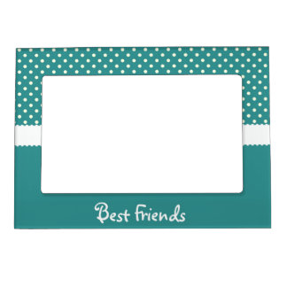 Teal & White Polka Dot Best Friends Magnetic Picture Frame