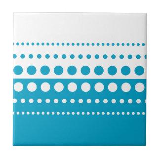 Teal White Polka Dot Pattern Ceramic Tile