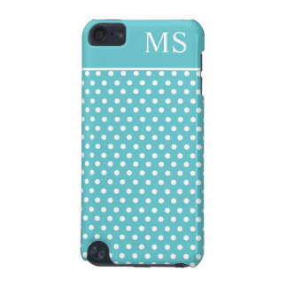 Teal White Polka Dots & Monogram iPod Touch (5th Generation) Cover