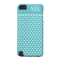Teal White Polka Dots & Monogram iPod Touch 5G Cover
