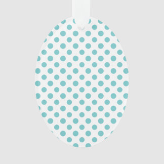 Teal White Polka Dots Pattern Ornament