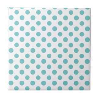 Teal White Polka Dots Pattern Tile