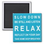 Teal & White Relax Motivational Message Magnets