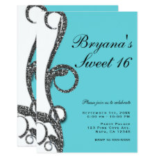 Teal White Silver Glitter Swirl Sweet 16 Party Card