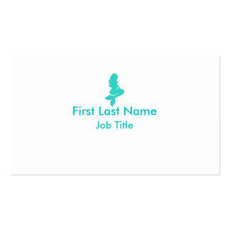 Teal white simple mermaid custom business cards