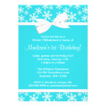 Teal White Snowflakes Bow Winter ONEderland Announcement