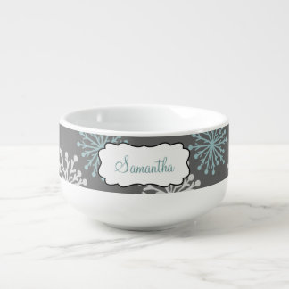 Teal & White Snowflakes on Gray Personalized Soup Mug