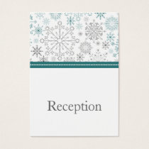 Teal White snowflakes winter wedding Business Card