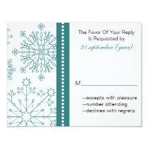 Teal White snowflakes winter wedding Card