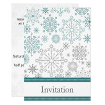Teal White snowflakes winter wedding Card