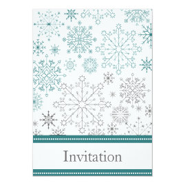 Teal Snowflakes Winter   Wedding Invitations