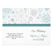 Teal White snowflakes winter wedding Flyer