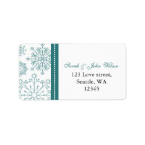 Teal White snowflakes winter wedding Label