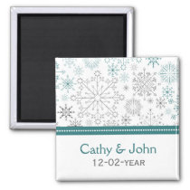 Teal White snowflakes winter wedding Magnet