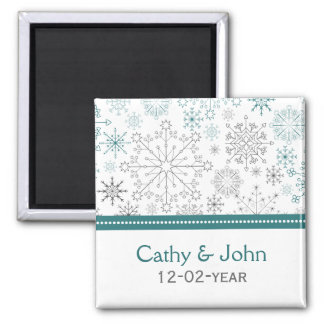 Teal White snowflakes winter wedding Magnet