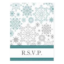 Teal White snowflakes winter wedding Postcard