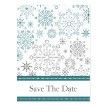 Teal White snowflakes winter wedding Postcard