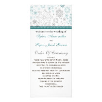 Teal White snowflakes winter wedding Rack Card