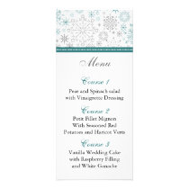 Teal White snowflakes winter wedding Rack Card