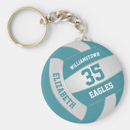 teal white sports team colors volleyball keychain