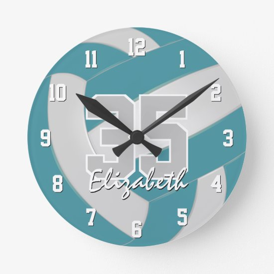 teal white sporty personalized volleyball round clock