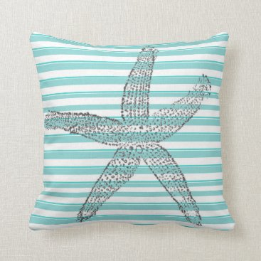 Teal White Stripe Starfish Throw Pillow