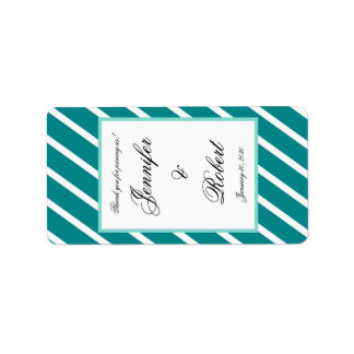 Teal White Stripe wit Floral Accent Lip Balm Label
