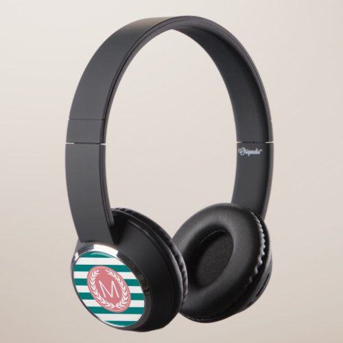 Teal & White Stripe with Pink Monogram Headphones