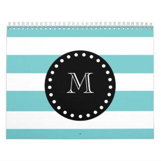 Teal White Stripes Pattern, Black Monogram Calendar