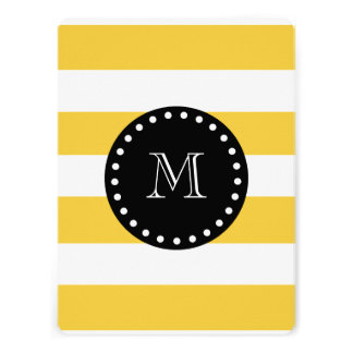 Teal White Stripes Pattern Black Monogram Personalized Invite