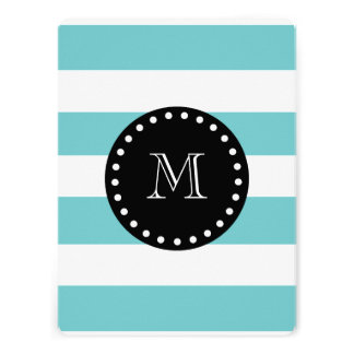 Teal White Stripes Pattern Black Monogram Custom Invite