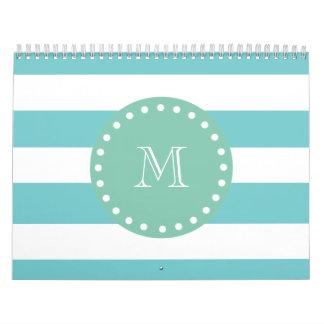 Teal White Stripes Pattern, Mint Green Monogram Calendars