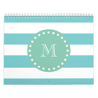 Teal White Stripes Pattern, Mint Green Monogram Calendar