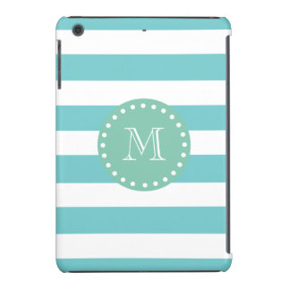 Teal White Stripes Pattern, Mint Green Monogram iPad Mini Cover
