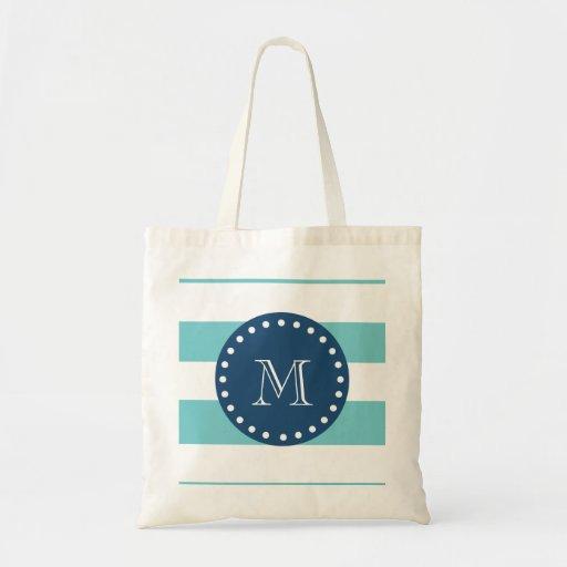 Teal White Stripes Pattern, Navy Blue Monogram Tote Bags