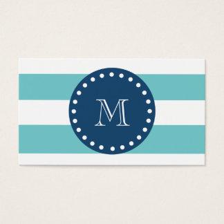 Teal White Stripes Pattern, Navy Blue Monogram Business Card