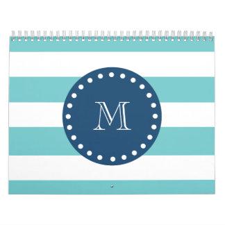 Teal White Stripes Pattern, Navy Blue Monogram Calendar
