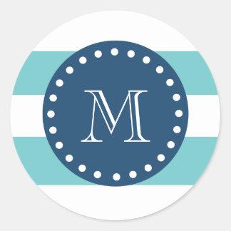 Teal White Stripes Pattern, Navy Blue Monogram Classic Round Sticker