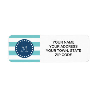 Teal White Stripes Pattern, Navy Blue Monogram Label