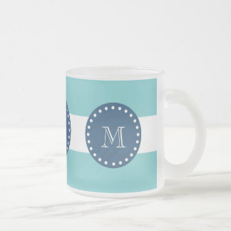 Teal White Stripes Pattern, Navy Blue Monogram 10 Oz Frosted Glass Coffee Mug