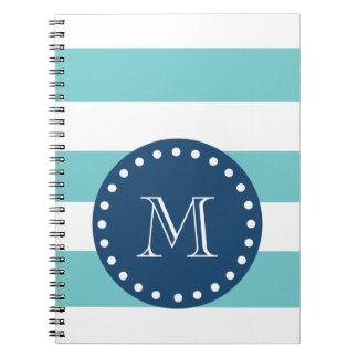 Teal White Stripes Pattern, Navy Blue Monogram Notebook