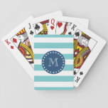 """Teal White Stripes Pattern, Navy Blue Monogram Playing Cards<br><div class=""""desc"""">A simple, modern, teal blue and white stripes pattern with your initial in a modern font, on a preppy, nautical, navy blue circle label, banner, frame with a dotted white line border. GraphicsByMimi&#169; Trendy, stylish, mod, bold lines pattern you can personalize with your monogram for her. Use the template field...</div>"""