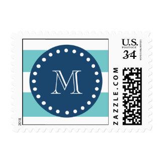 Teal White Stripes Pattern, Navy Blue Monogram Postage Stamps