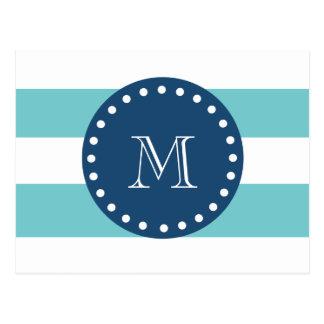 Teal White Stripes Pattern, Navy Blue Monogram Postcard