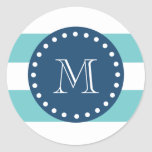 Teal White Stripes Pattern, Navy Blue Monogram Sticker